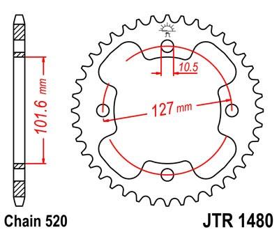 JT Sprockets JTR1480.38 38T Steel Rear Sprocket