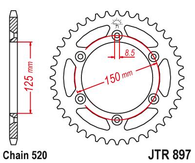 JT Sprockets JTR807.44 44T Steel Rear Sprocket