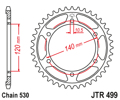 JT JTR499.45 Steel Rear Sprocket 45T 530