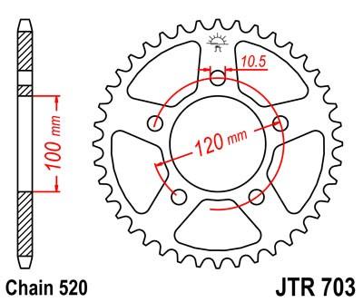 40T JT Steel Rear Sprocket JTR703.40