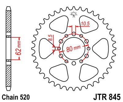 JT Sprockets JTR845.49 49T Steel Rear Sprocket